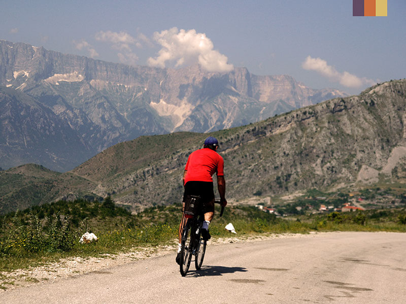 A lone cyclist in the mountains of Albania