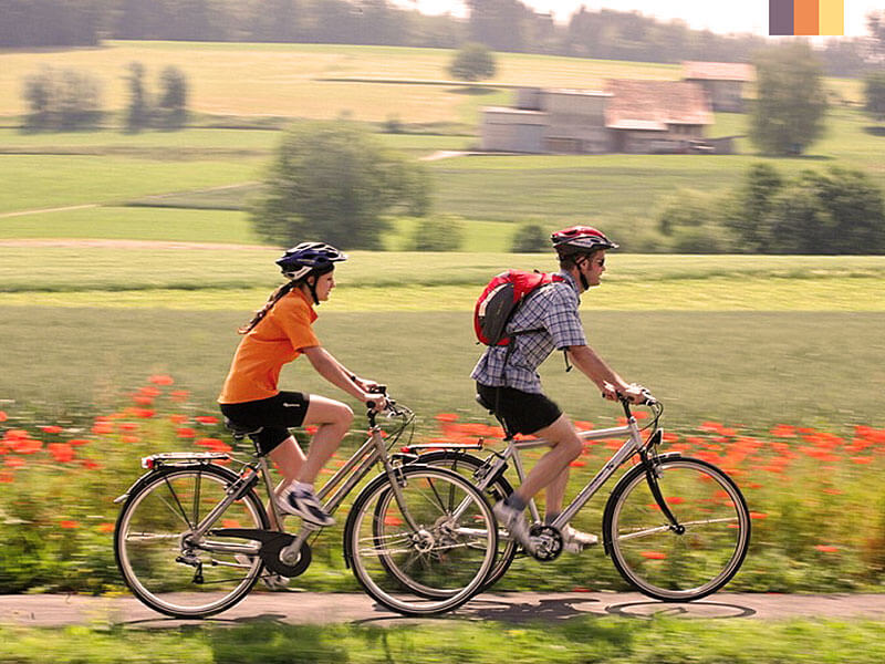 Two cyclist enjoying a cycling holiday through poppy fields in the Loire Valley
