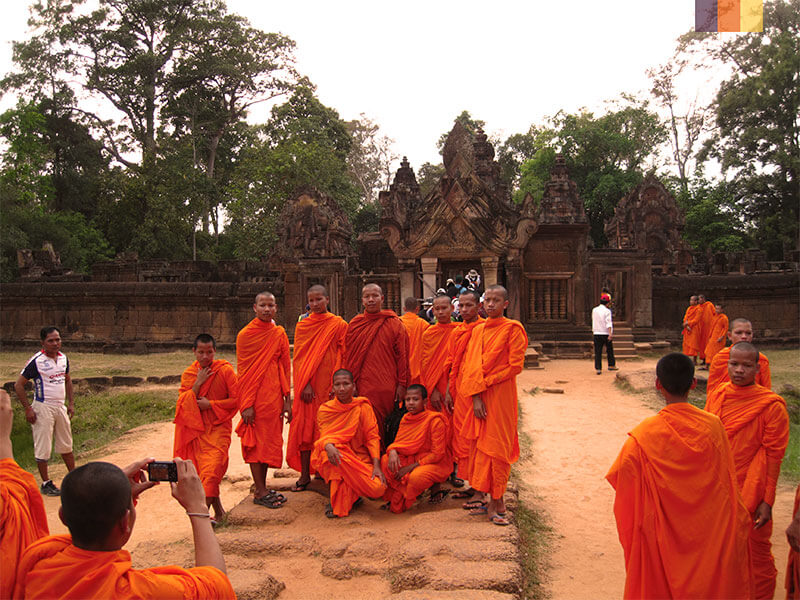 A group of Cambodian monks seen on a cycling holiday in Cambodia