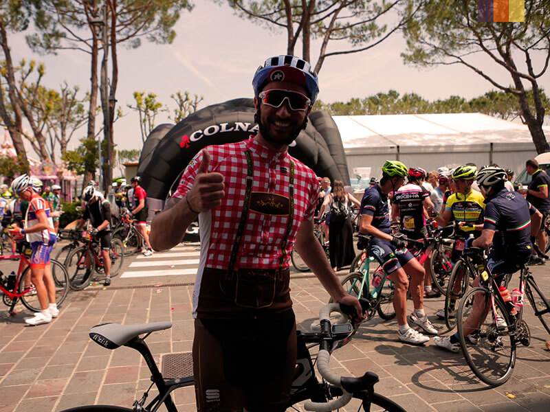A cyclist in fancy dress at the Granfondo Colnago weekend