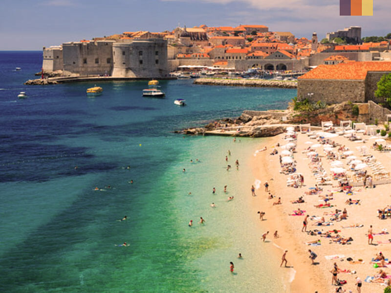 Aerial view of Dubrovnik coast with the beach old town and fort