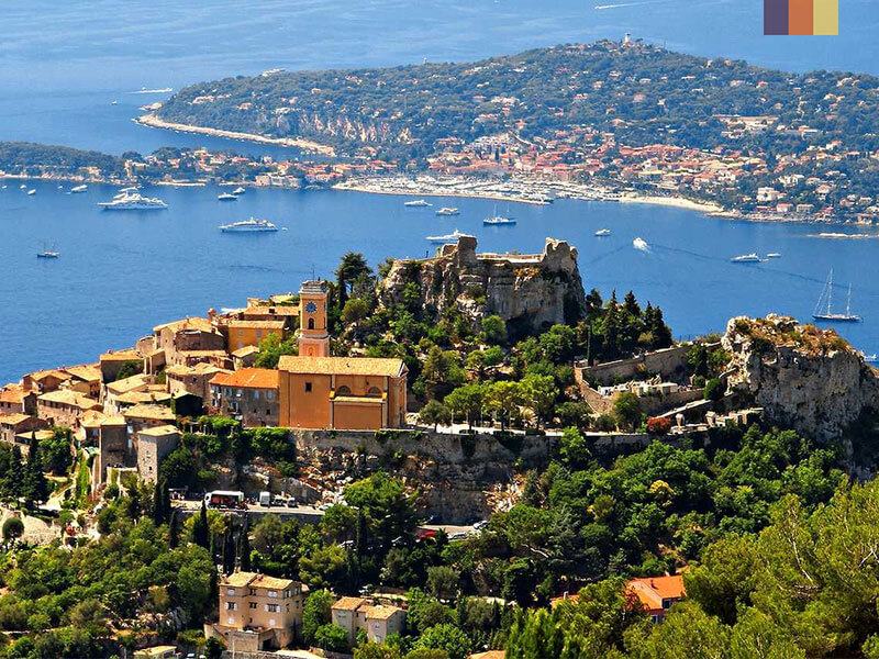 View of Eze village on a cycling holiday on the French Riviera