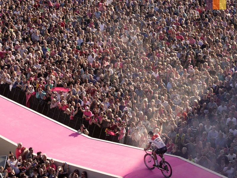 Vincenzo Nibali riding on to the winners platform at the Giro d'Italia