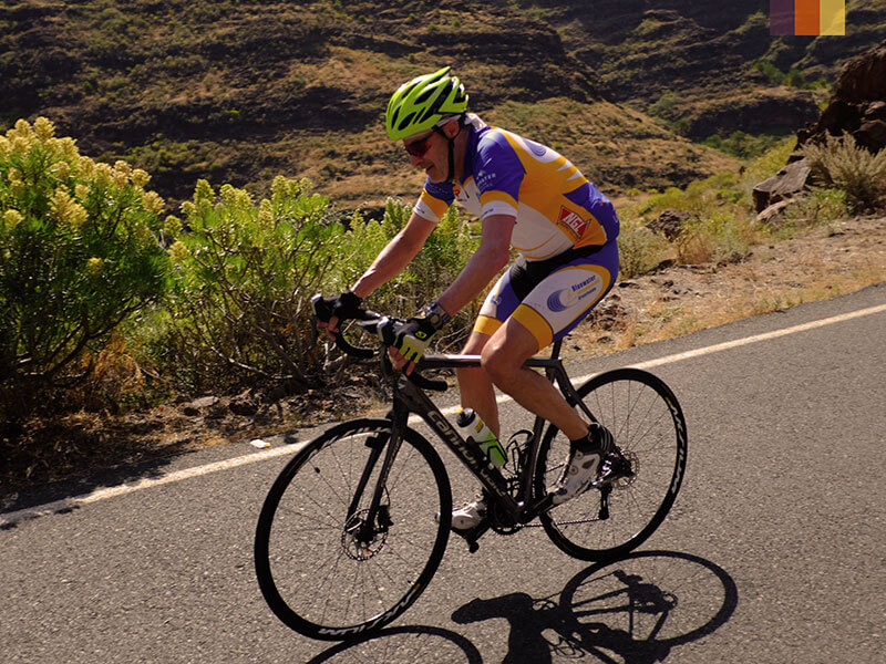 A solo male cyclist riding on a cycling holiday in Gran Canaria