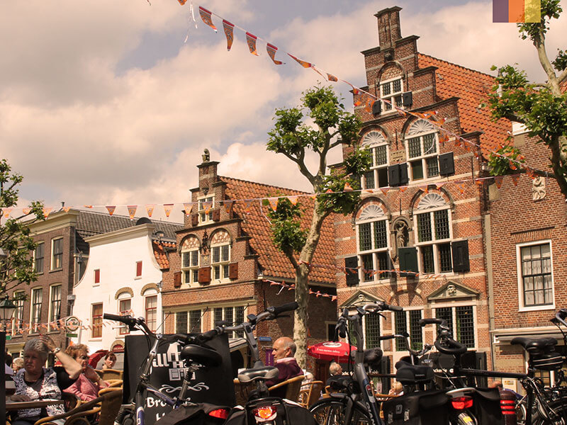 Bikes next to a cafe on a cycling holiday in Holland