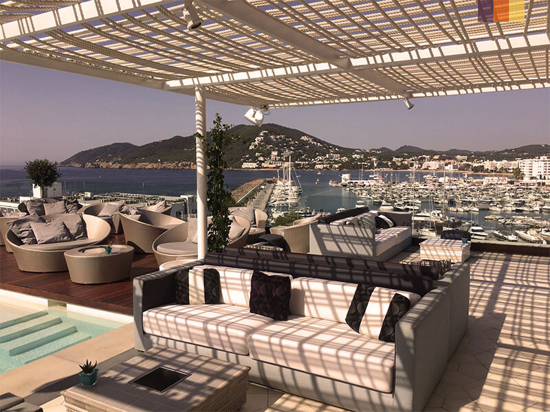 View from a rooftop bar over Santa Eularia harbour in Ibiza