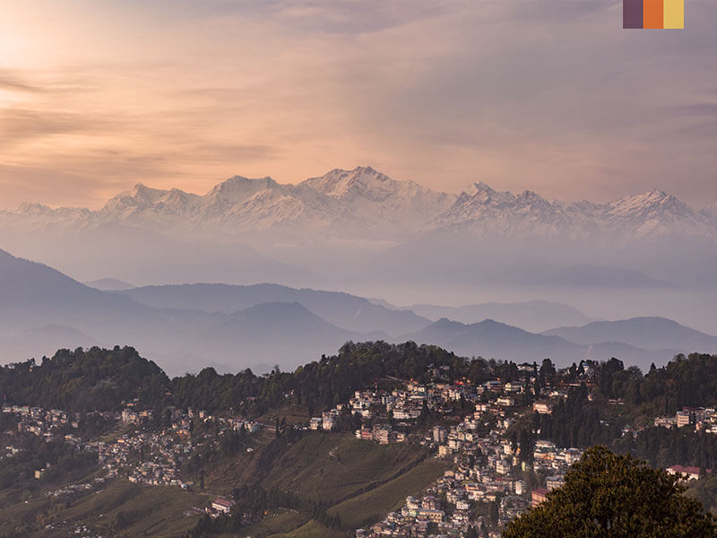 View over the Himalayas on a cycling holiday in India