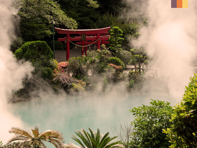 Steam rising over a hot pool in Japan