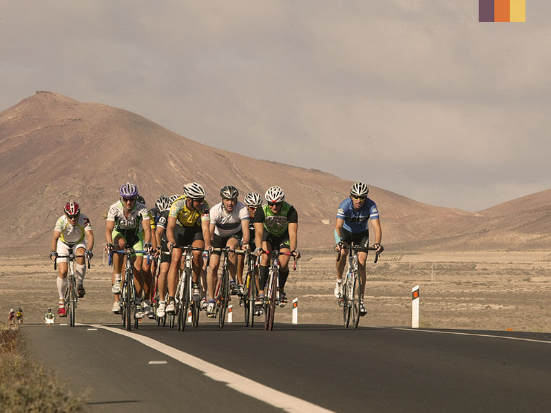 A group of cyclists in Montanas del Fuego on a Lanzarote Intermediate cycling holiday