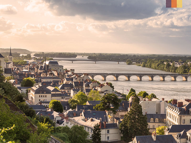 An aerial view of the Loire river in France