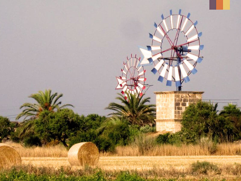 a windmill in a hay field taken on a cycling holiday in Mallorca