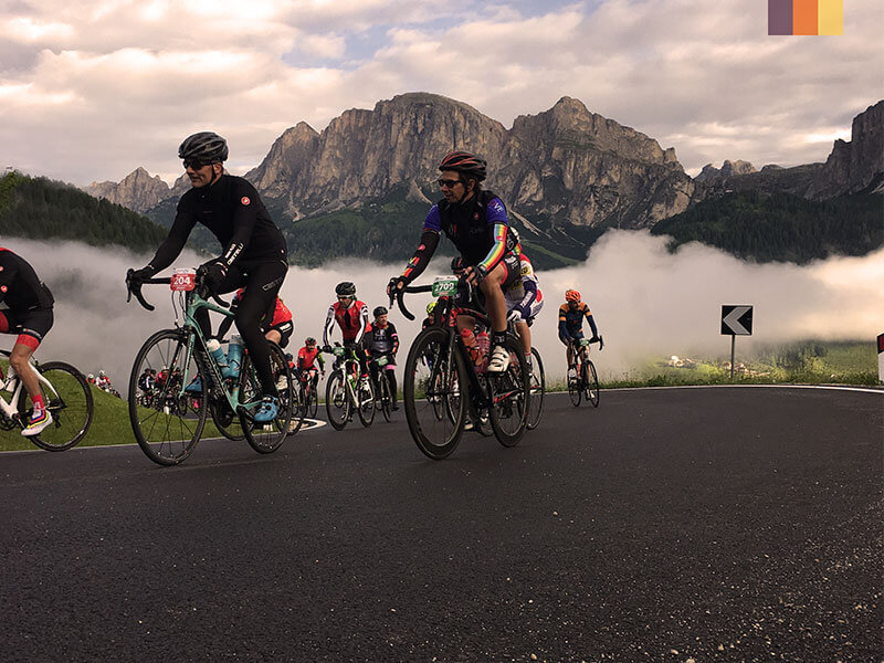 Cyclists competing the Maratona dles Dolomites cycling holiday
