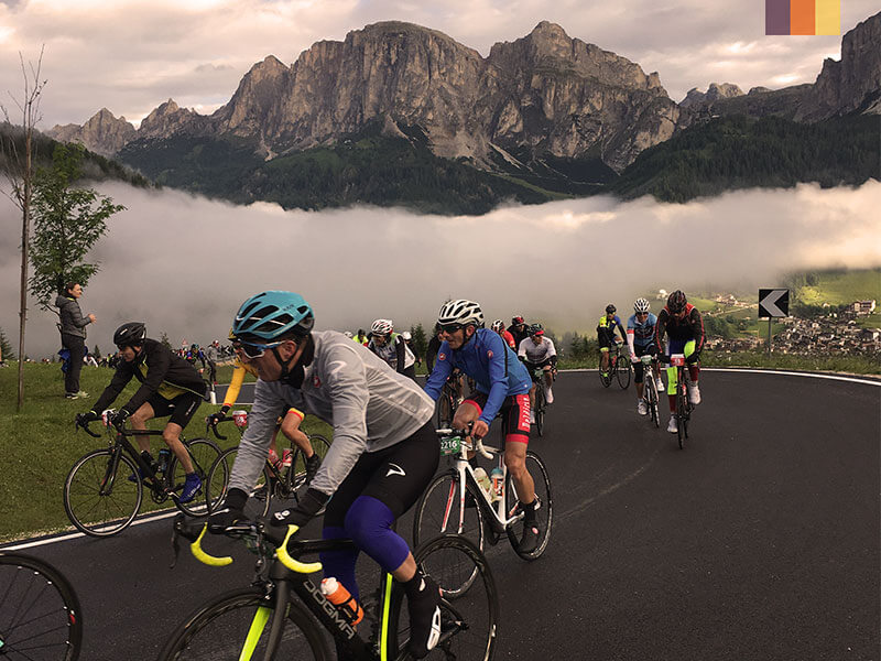 Cyclists competing in the Maratona dles Dolomites cycling holiday