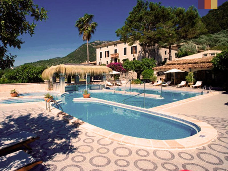 A view of the pool at Monnaber Eco resort in Campanet, Mallorca