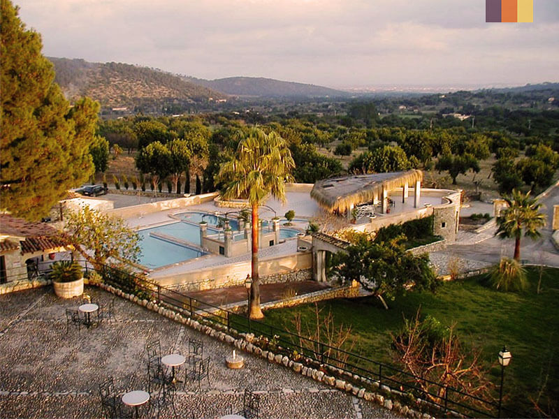 Aerial view of Monnaber Eco Resort in Campanet, Mallorca