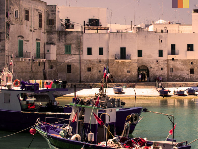 The harbour at Ostuni in Puglia Italy during a cycling holiday