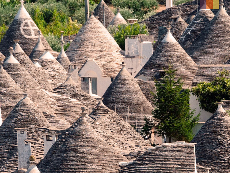 A collection of trulli in Alberobello Puglia on a cycling holiday