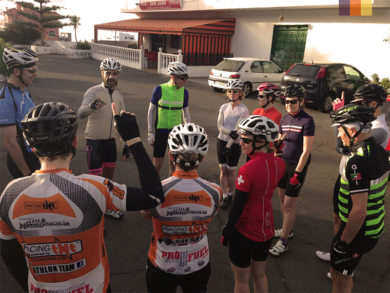 A group of cyclists chatting on their Tenerife cycling holiday