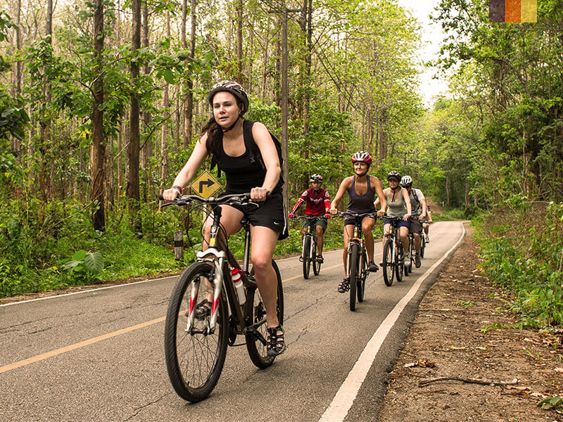 Woman leading a cycling group through forest in northern Thailand