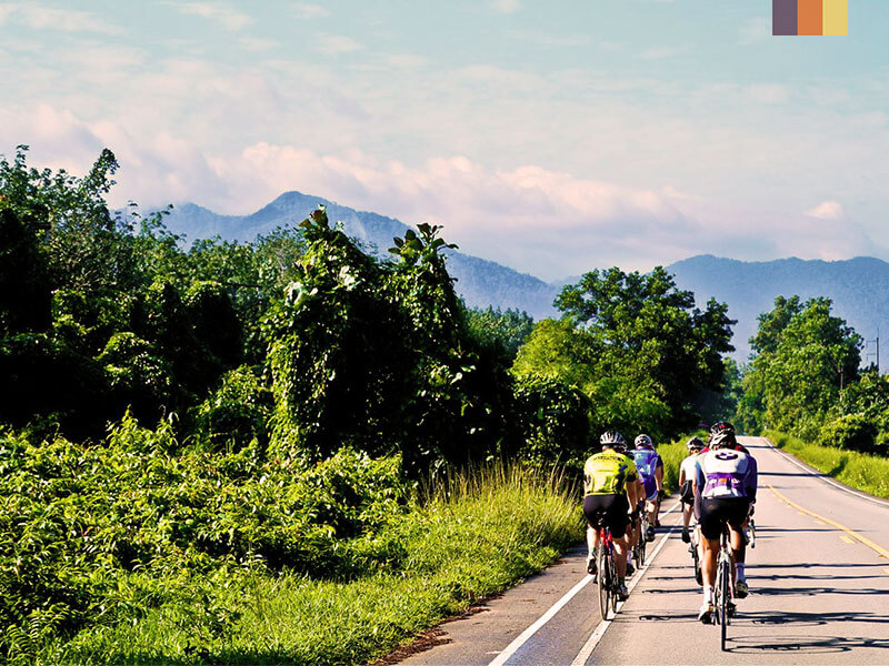 A group of cylists riding on a road through the north of Thailand on a cycling holiday