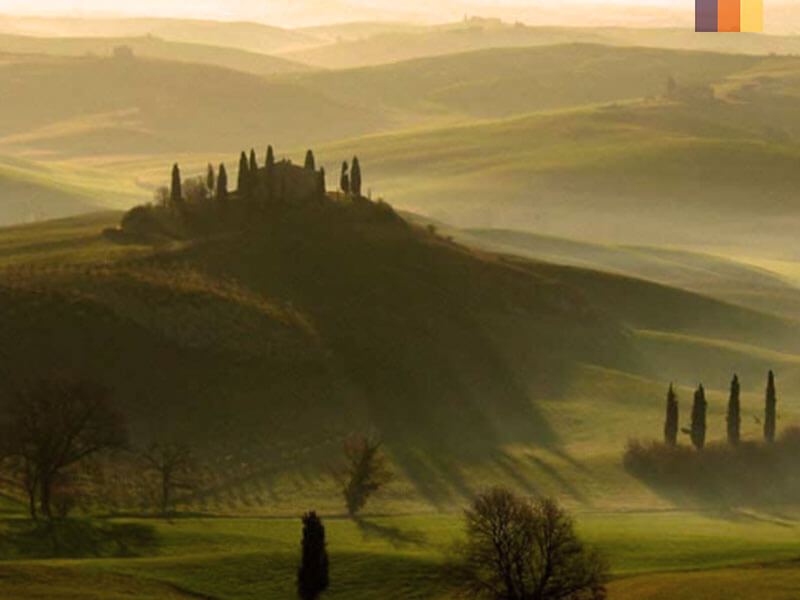 Cypress trees and rolling hills on a cycling holiday in Tuscany