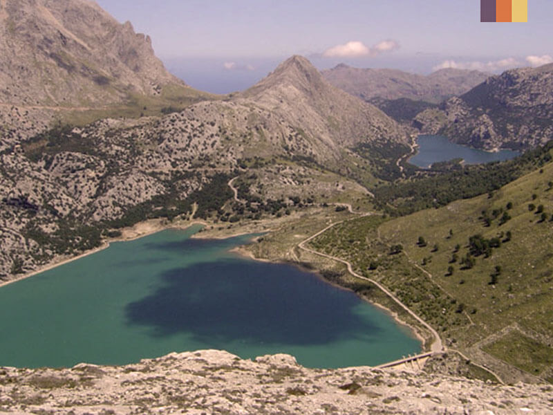 Aerial view of two lakes Mallorca
