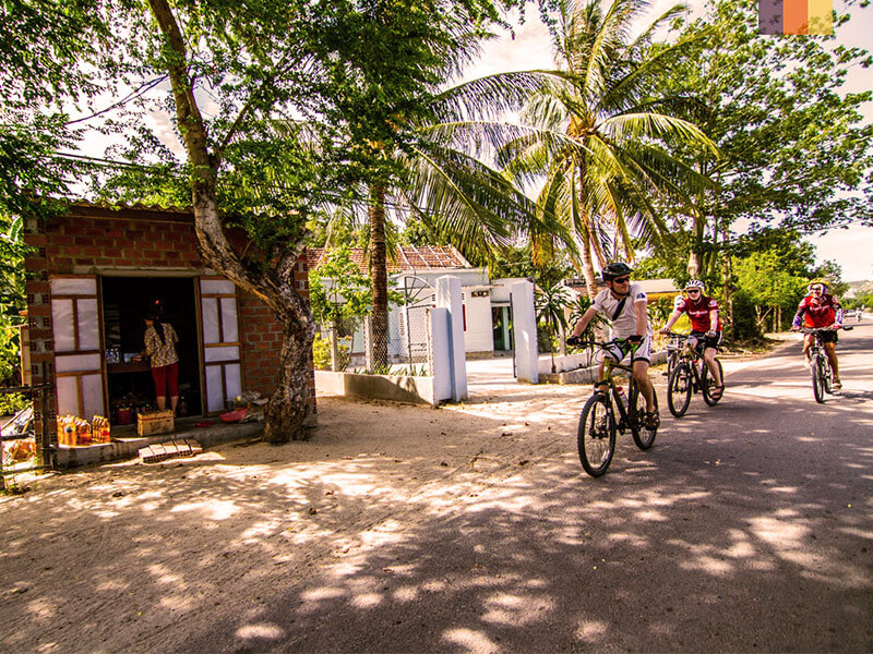 Three cyclists on a road passing palm trees and a local shop on their Vietnam cycling holiday