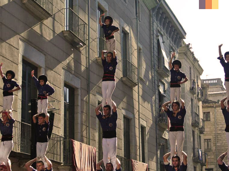 Girona acrobats seen on a cycling holiday