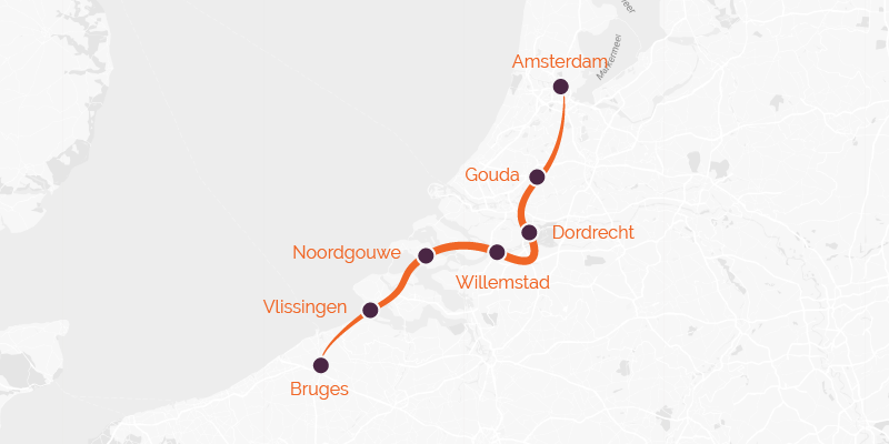 Cycling route from Amsterdam to Brugge