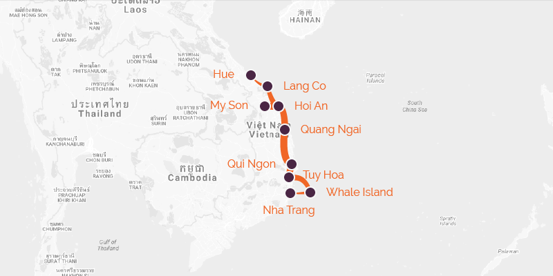 Cycling Holiday route of Vietnam from Hue to Nha Trang