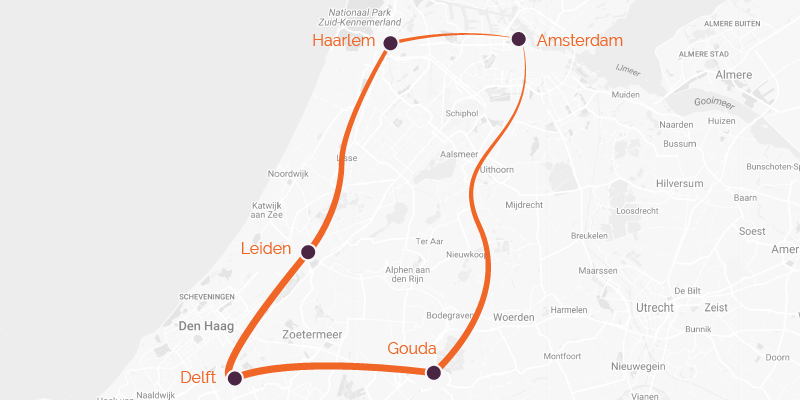 Map of a cycling holiday in Holland