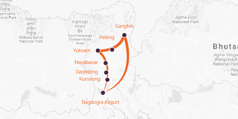 India cycling route map Gangtok to Bagdogra