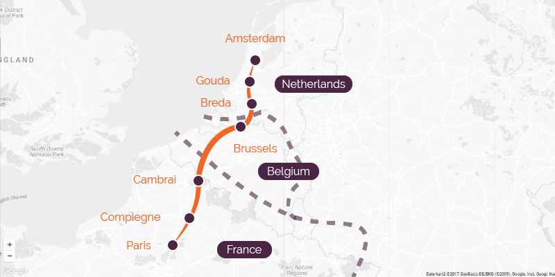Map of a cycling holiday from Amsterdam to Paris