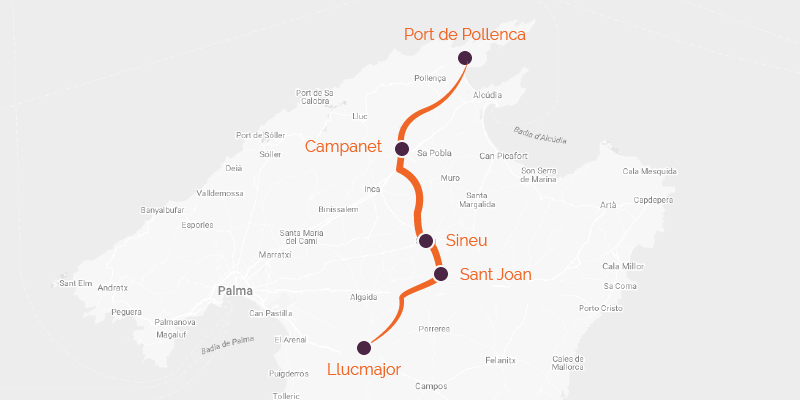 Map of a cycling holidayacross the flatlands in Mallorca, Spain