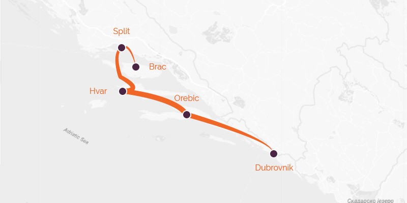 Croatia cycling holiday route from Split to Dubrovnik