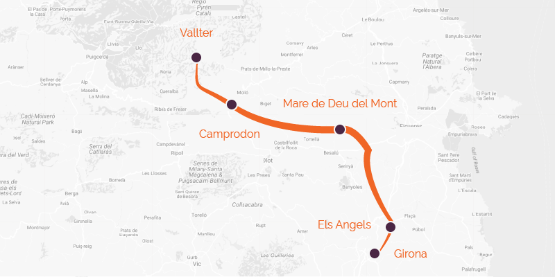 Spain cycling holiday route from Girona to Vallter