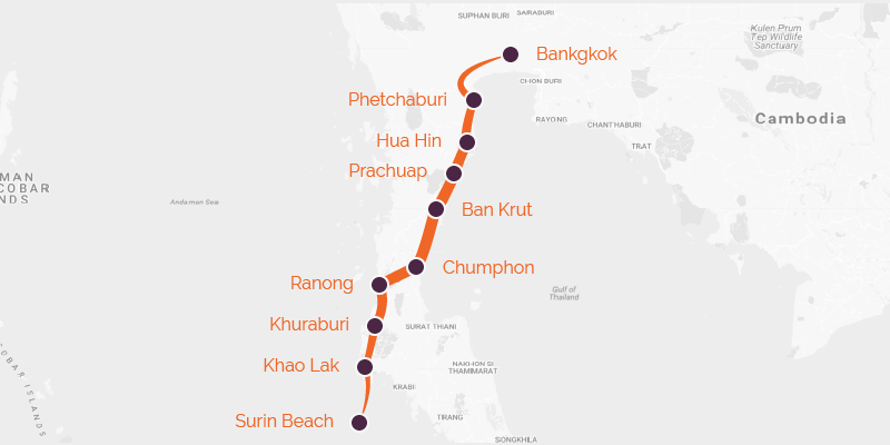 A map of a cycling route between Bangkok and Phuket