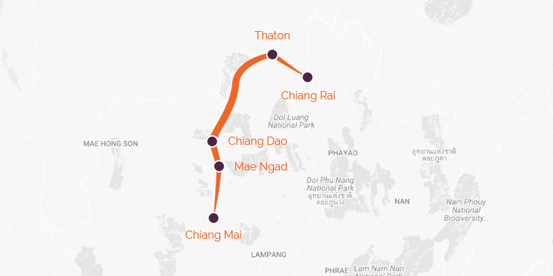 Map of a cycling holiday from Chiang Mai to Chiang Rai
