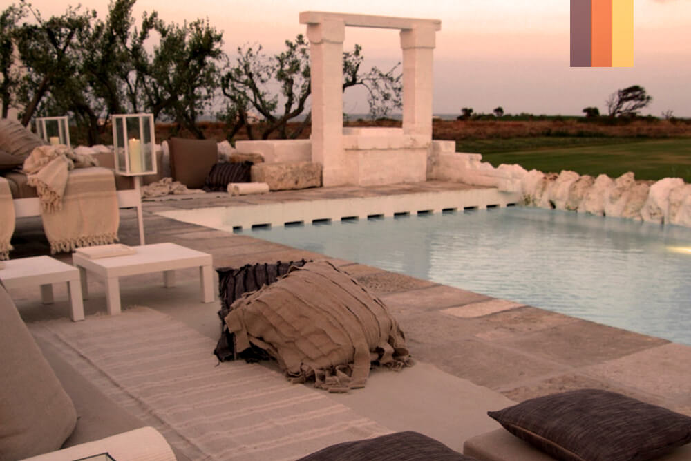 A swimming pool in a boutique hotel overlooking the countryside in Puglia, Italy