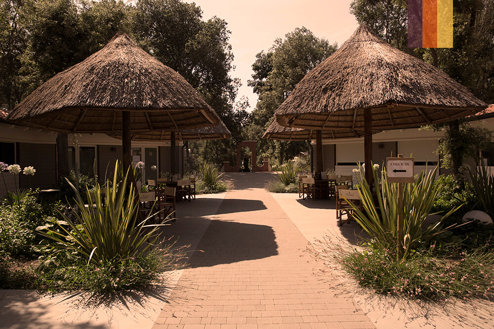 The hotel outdoor area at the Paradu eco resort cycling holiday