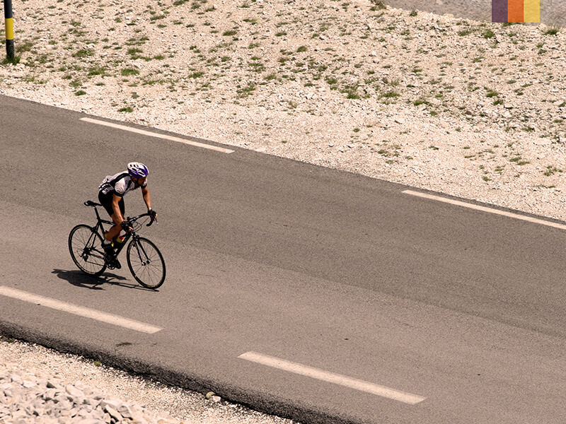 A lone cyclist cycling on Mont Ventoux