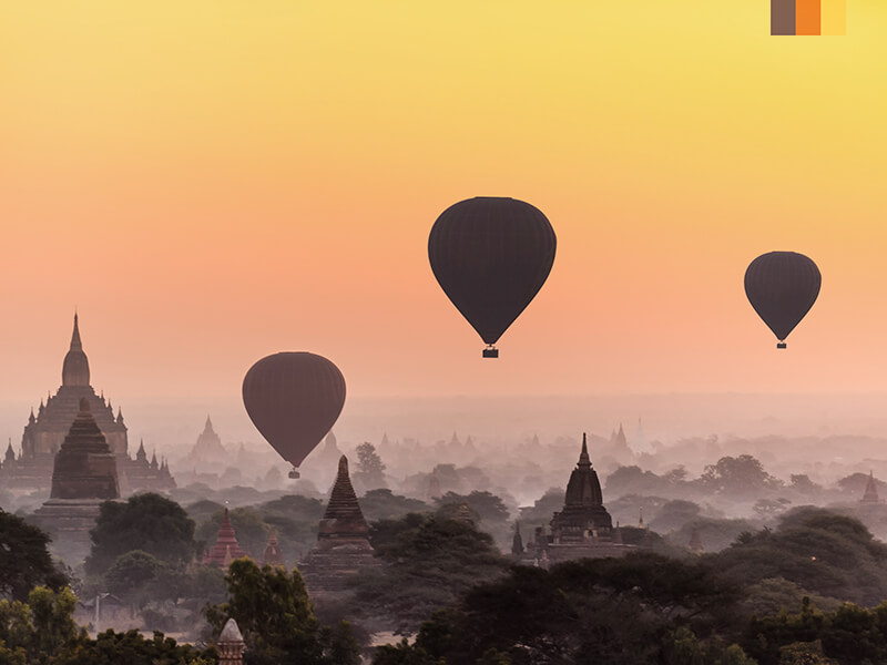 Hot air balloons over Bagan in Myanmar