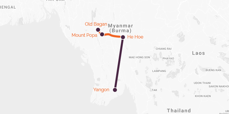 Map of a cycling holiday from Inle to Bagan