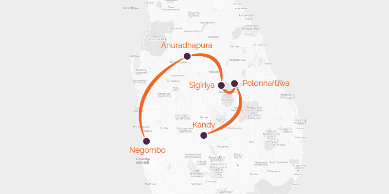 Map of a cycling holiday in Sri Lanka